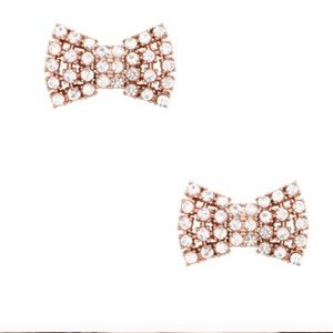 New Kate Spade Sparkling Bow Studs Rose Gold